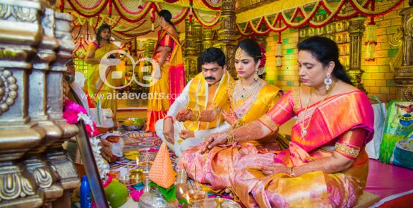 Paturi Naga Bhushanam's daughters wedding decoration by AicaEvents