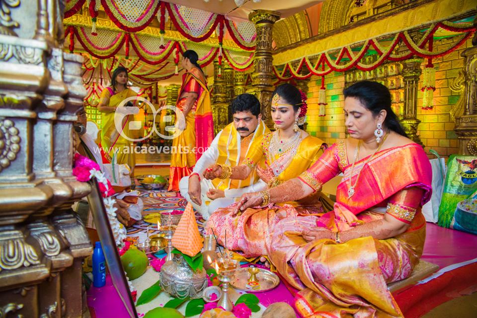 Paturi Naga Bhushanam's daughters wedding decoration by AicaEvents